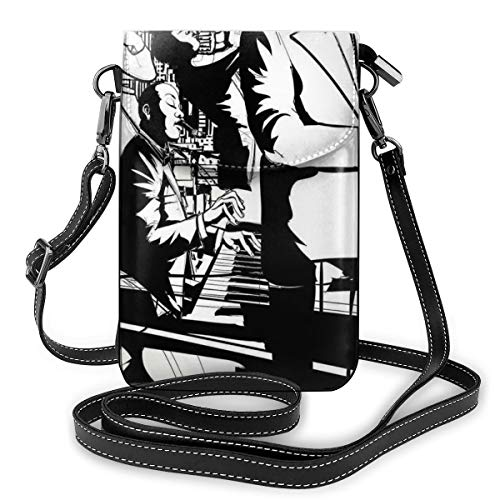 Women Small Cell Phone Purse Crossbody,Jazz Concert Band Playing Saxophone Double-Bass Trumpet And Keyboard At Night