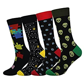 Cansok men's 2/4 packs fun crazy novelty dress crew socks 1 added values – 2/4 pairs in a pack; fits socks size 8-14; men shoes size 7-13 / women shoes size 7-12. 5 occasion: casual, home, work, party, school, office, indoor; - perfect gifts for: birthday, christmas, mother's day, thanksgiving day; - not thick not thin, good for fall & winter and all year wear fashion: cansok socks: a new way to show your unique fashion sense with our socks; brighten up your day, keep everything fresh and stylish, restyle you from the bottom and out
