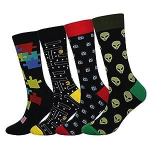 Cansok Men's 2/4 Packs Fun Crazy Novelty Dress Crew Socks