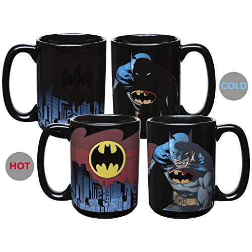 Zak Designs DC Comics Batman Unique Color Changing Ceramic Coffee Mug, Collectible Keepsake and Wonderful Coffee Mug (15oz, Batman, BPA-Free)