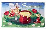 Flaggenfritze® Flagge/Fahne Sommer Biene mit Honigtopf - 90 x 150 cm