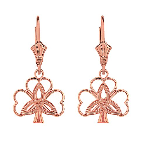 14k Rose Gold Celtic Triquetra Trinity Knot Shamrock Clover Earrings
