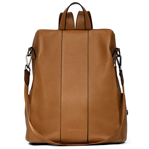 BOSTANTEN Women Leather Backpack Handbag Genuine Soft Leather Anti-Theft Daypack Vintage Casual School Bags Brown