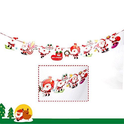 carol -1 Frohe Weihnachten Bunting Banner Girlanden Wimpel, Weihnachtssocke Frohe Weihnachten Briefe Santa Elk Bell Socke, Weihnachtsfeier Dekorationen Lieferungen Hängende Ornamente