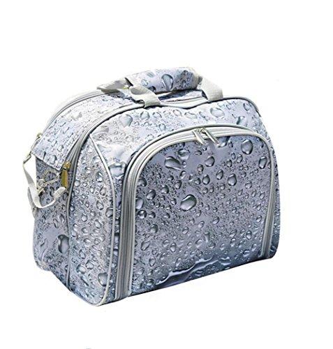 Partie 4 Personne Pique-Nique Portable Double Sac À Épaule Nourriture Déjeuner Sac Étanche Vaisselle Sac À Dos Hamper Refroidisseur