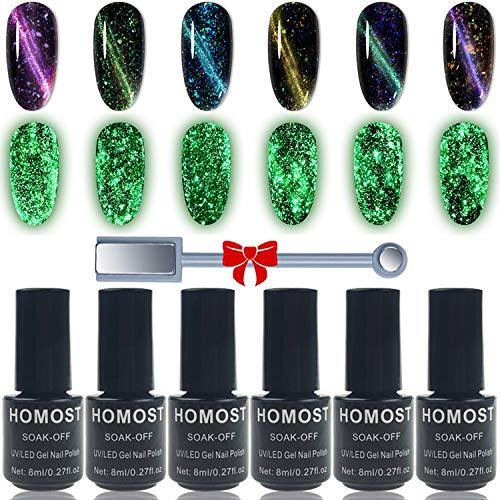 HOMOST Glow in The Dark Cat Eye Gel Nail Polish Set, 6PCS Magnetic Gel Nail Polish Set with Magnet