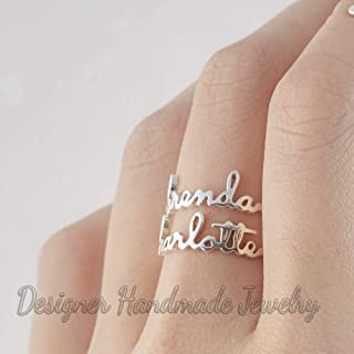 stackable name ring, personalized name rings, child name ring for mom, custom name jewelry, 925 sterling silver, stacking name ring for women, unsix jewelry