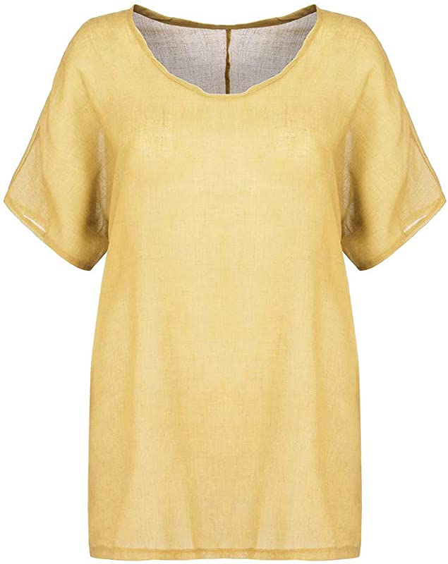 RoDeke Women Plus Size Casual Summer Solid Round Neck Short Sleeves Loose Top T Shirt Blouse