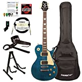 Sawtooth Heritage Series Flame Maple Top Left Handed Electric Guitar with ChromaCast Pro Series LP Body Style Hard Case, 25 Watt Amp, Accessories, Cali Blue Flame