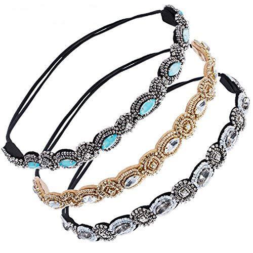 iLoveCos Vintage Handgefertigte Haarband Strass Kristall Perlen Elastische Kopfband Modische für Frauen Damen