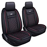 LUCKYMAN CLUB 2 pc Auto Car Seat Covers Fit Most Sedan SUV Truck Nicely Fit for Sportage NIRO Optima Forte Soul Rio Sentra Altima Maxima Xterra(Black &Red 2 PCS