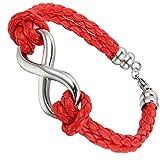 Flongo Joyería Pulsera de Cuero Brazalete Manguito, símbolo Infinito Charms, Trenzada Pulsera roja de Mujer