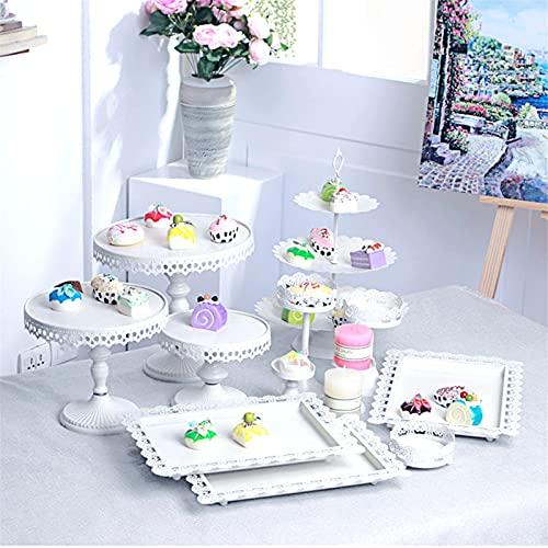 Jtoony Soportes para tartas 12 unids/set clásico estilo europeo cristal blanco metal...
