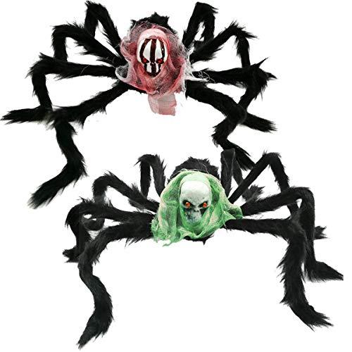 Osuter 2PCS Halloween Araña Gigante Peluda Araña de Halloween Falsa Araña para Interior y Exterior Halloween Terror Decor de Fiesta Exteriores