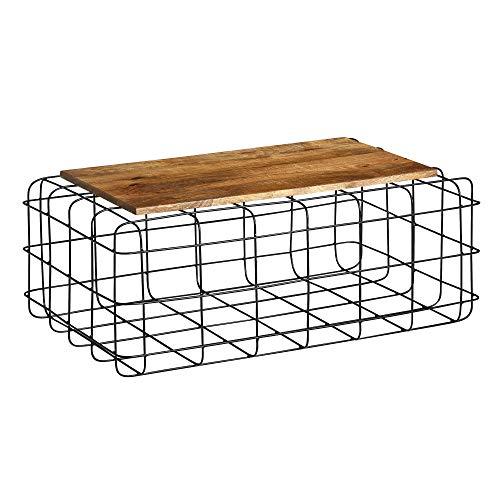 FineBuy Couchtisch 92x36x61 cm Mango Massivholz/Metall Sofatisch   Gitter Design Wohnzimmertisch Eckig   Stubentisch Industrial Braun   Kleiner Loungetisch Holz