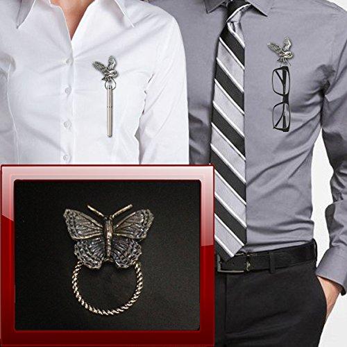 Broche pequeño con forma de mariposa C2 para gafas, bolígrafo, identificación, joyería de peltre