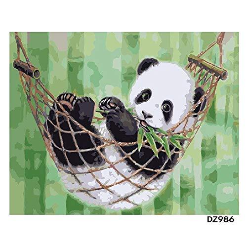 Digitaal olieverfschilderij om zelf te maken, panda, schommels, decoratie van het huis, geschenk, olieschilderij, handgeschilderd, 40 x 50 cm