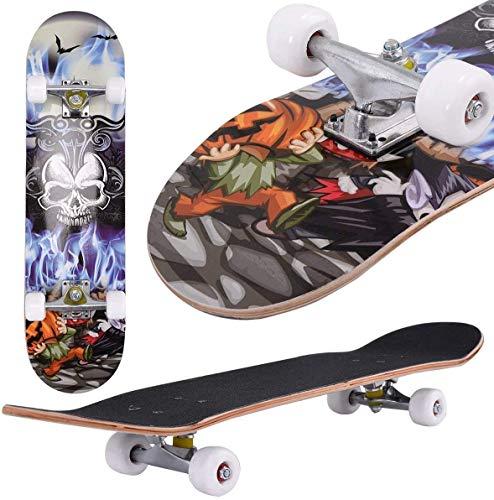 Oppikle Skateboard Komplettboard Mit ABEC-9 Kugellager Und 9-Lagigem Ahornholz 95A Rollenhärte Funboard FÜR Anfänger Und Profis - Belastung 100 KG (Schädel)