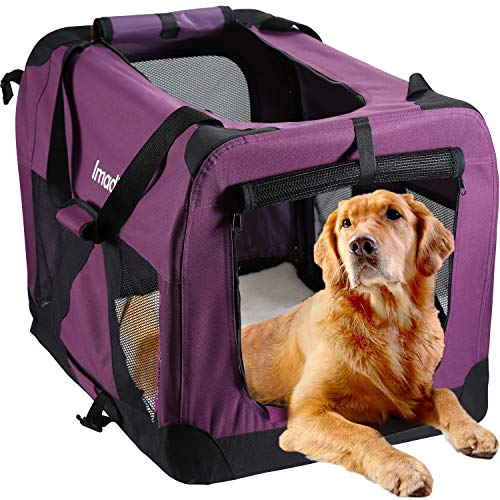 Pettom Folding Soft Dog Crate Kennel 27 x 20 x 20in Travel Carrier for Pet Indoor Outdoor 2 Door Portable Collapsible Travel Carrier Padded Fleece Bedding Strong Steel Frame for Medium Large Dogs