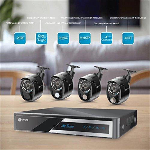 Anni Sistema de Cámara CCTV 4CH 1080P AHD DVR Kit Recorder, 4 x 1080p Waterproof Cámaras de Exterior 2.0MP, detección...