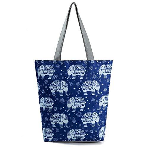 Damen Umhängetasche Elefant Hippie Boho Schultertasche Tragetasche Handtasche Shopper Tasche Einkaufstasche Strandtasche