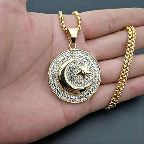 Moslim Crescent Moon en Star hanger RVS om Ketting Hip Hop Iced Out Women Men islamitische Jewelry Dropshipping voor moslimvrouwen vakantie cadeau