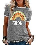Camiseta Mujer Manga Corta Cuello Redondo algodón Estampada de Arco Iris Letras Good Camisa Blusa Suelto Top Verano Casual