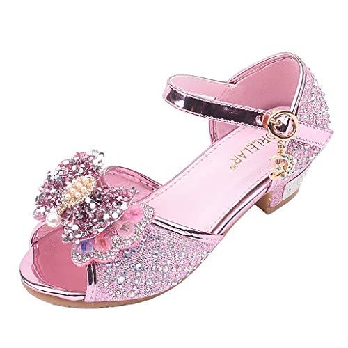 Sayla Zapatos Bailarina para NiA Baile Tango Latino Vestir Fiesta Zapatos De Lentejuelas Disfraz De Zapatos De TacN Alto De Princesa Arco Perla Rhinestone Sandalias
