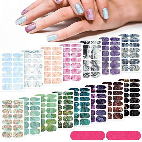 210 Pieces 15 Sheets Gradient Marble Full Nail Stickers Assorted Printed Full Wrap Nail Stickers Self-Adhesive Nail Decals with 2 Pieces Glass Nail Files for Women Girls Nail Art (Marble Style)