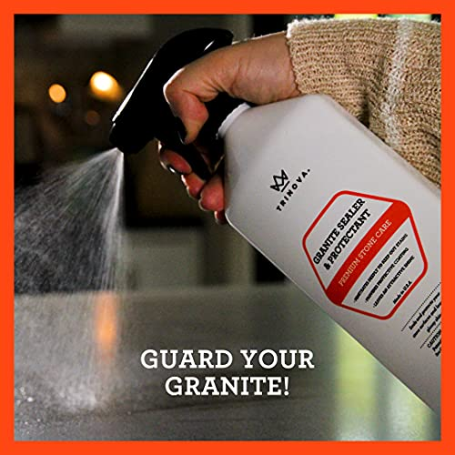 TriNova Granite Sealer & Protector - Best Stone Polish, Protectant & Care Product - Easy Maintenance for Clean Countertop Surface, Marble, Tile - No Streaks, Stains, Haze, or Spots - 18 OZ