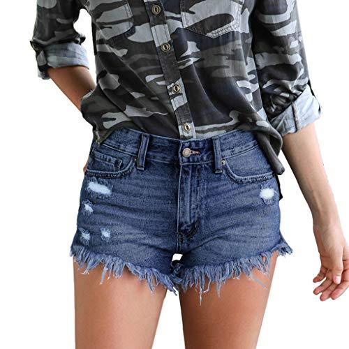 FRAUIT Pantaloncini Donna Jeans Vita Alta Corti Shorts Ragazza Estate Pantaloni Donne Denim Stretti Strappati Pantaloncini Nappa per la Spiaggia Hot Pants Moda Shorts Donna Sexy