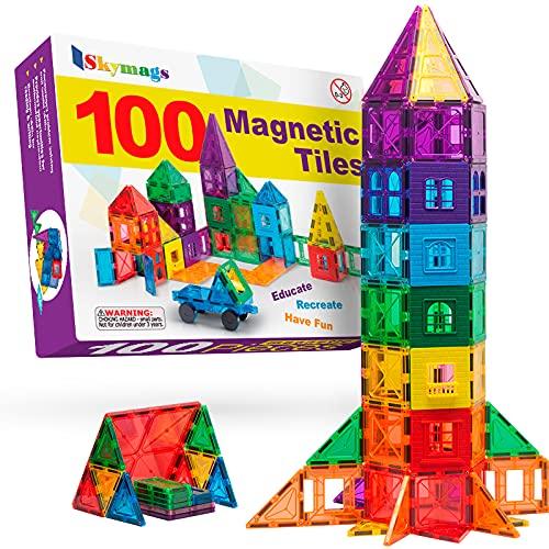 Skymags Magnetic Blocks, Magnet Tiles for Kids, Magnetic Building Blocks 100 Pcs Set Toys for Boys...
