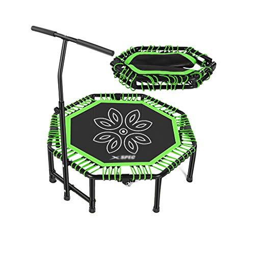 CX Silent Fitness Mini Trampoline with Adjustable Handrail Bar Indoor Premium Bungees Adults Best Urban Cardio Jump Fitness Workout Trainer Max Limit 881 lbs