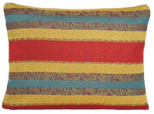 Pierre Frey Stripy Senape Cuscino Rosso e Blu Strisce Tessuto Tessuto Jacquard Cuscino Gettare Case Karabak