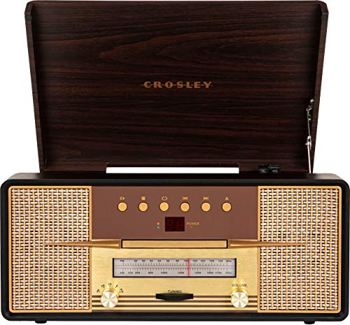 Crosley CR7016A-MA Rhapsody 3-Speed Turntable with Bluetooth, AM/FM Radio, CD Player, and Aux-in, Mahogany