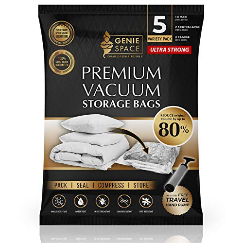 GENIE SPACE - Incredibly Strong Premium Space Saving Vacuum Bags Storage   Variety 5 Pack (1MX+2XL+2L)   Airtight & Reusable   Create 80% more space   For Clothes, Towels, Bedding, Duvets and more