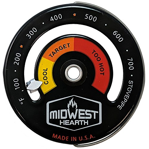 Midwest Hearth Wood Stove Thermometer - Magnetic Chimney Pipe Meter