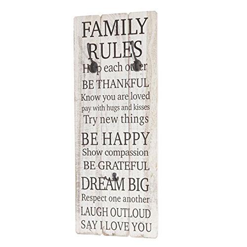 Mendler Wandgarderobe Family Rules, Garderobe Garderobenpaneel, Shabby-Look Vintage mit 3 Haken 76x31cm