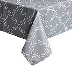 UFRIDAY Tablecloth 52 x 52-Inch for Square Tables, Light Grey Printed Table Covers Water-Repellent and Spill Proof