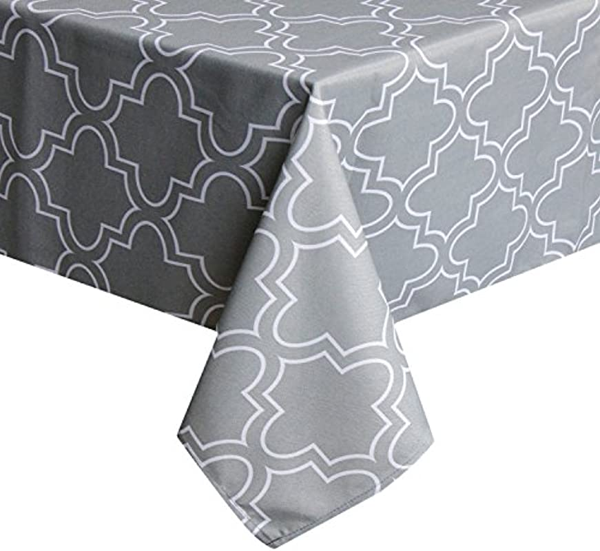 UFRIDAY Light Grey Tablecloth 60 By 120 For Rectangle Tables Spillproof Table Cloth With Pattern Printed