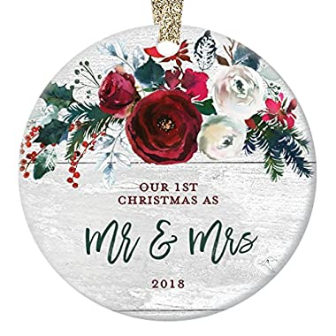 Modern Farmhouse Mr & Mrs Ornament 2018, 1st Christmas Married, First Gift for Newlywed Couple Bride Groom Rustic Present Ceramic Keepsake Present 3  Flat Circle Porcelain with Gold Ribbon & Free Box