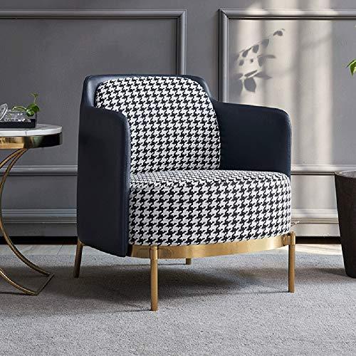 Wing back ligstoel, eenvoudige stoel latex rugleuning bank arm stoel met massief metalen poten voor lounge woonkamer slaapkamer bioscoop spel