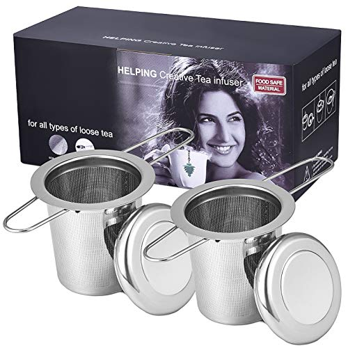 2 Stück Teesieb mit Doppelgriffen, premium 304 Edelstahl Teefilter mit Deckel, Faltbare Griffgestaltung Passend für die Meisten Tee-Tassen und Tee-Schalen