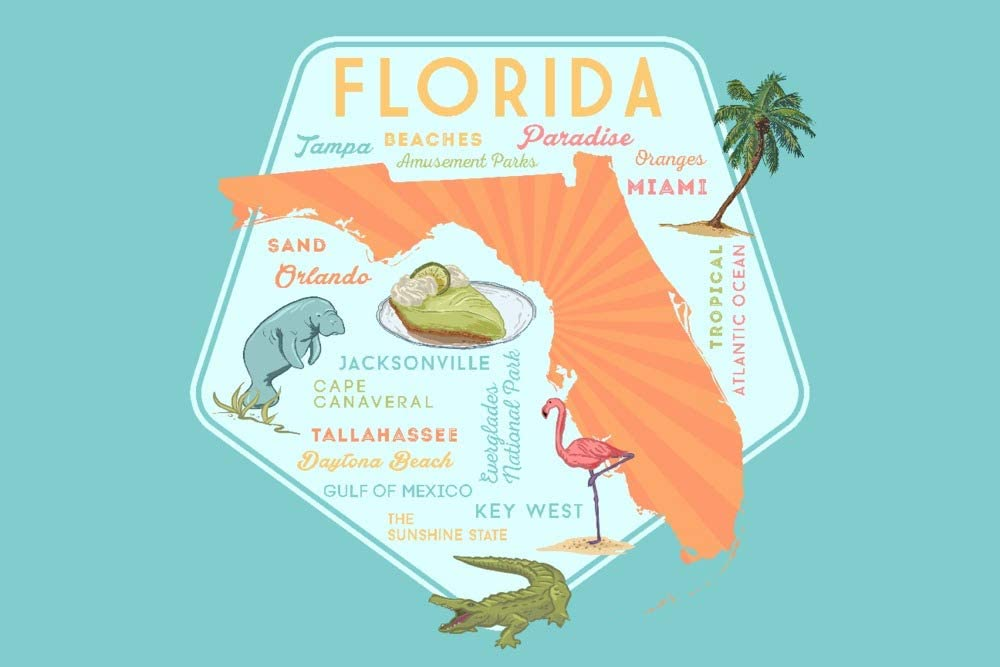 Florida Typography and Icons Contour 90706 Overseas parallel import regular item Galle 16x24 Giclee New Shipping Free Shipping