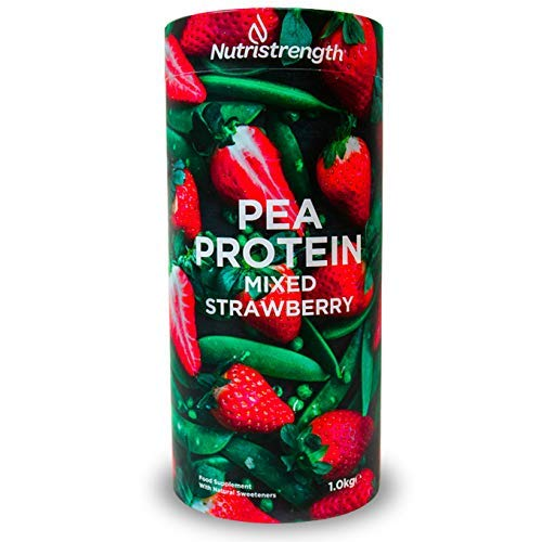 Vegan Protein Powder by Nutristrength | Pea Protein Isolate with Naturally Enhanced Flavour | Soy & Lactose (Dairy) Free | 100% Plant Based Lean & Low Fat Nutritional Powder- Mixed Strawberry [1kg]