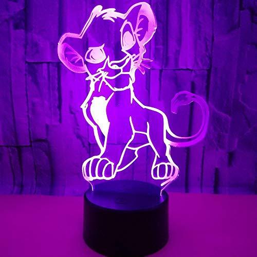 3D Illusion Lampe Led Nuit Lumière de Bande Dessinée Lion Roi Simba Nouveauté Tactile Lampe de Table Maison Chambre Enfants Cadeau Musical