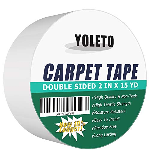 YOLETO Double Sided Carpet Tape for Area Rugs, Heavy Duty Sticky Adhesive Rug Gripper for Tiles Wood Flooring (2 Inch x 15 Yards)