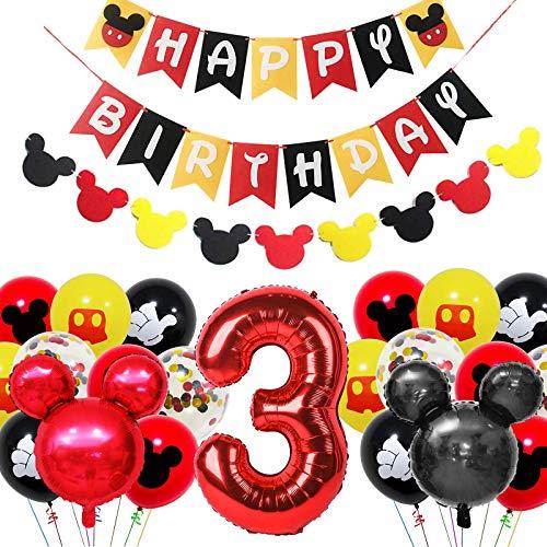 Amycute Decoración de Fiesta Mickey Mouse Cumpleaños, Banner de Happy Birthday Globos de Latex Negro Rojo, Globo de Papel de Aluminio de Número 3 para Fiesta Temática de Mickey Cumpleaños
