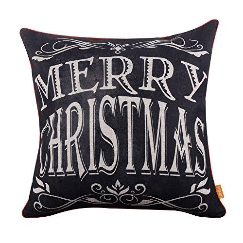 LINKWELL (18 45,72 cm x 45,72 cm (18') stagione per le vacanze, motivo: lavagna a forma di scritta 'Merry Christmas', motivo 'Cane razza-Federa per cuscino con rilegatura rossa