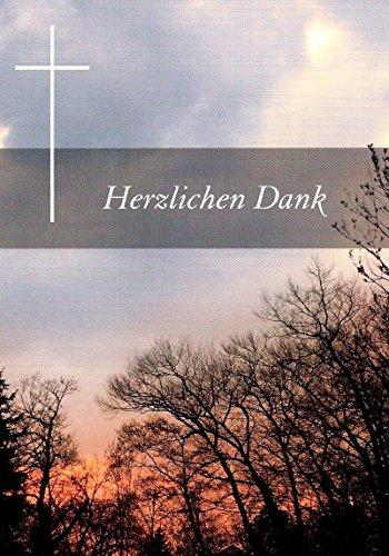 Trauer Danksagungskarten Trauerkarten mit Innentext Motiv Sonnenuntergang Wald 25 Klappkarten DIN A6 mit weißen Umschlägen im Set Dankeskarten Dankeschön Karten Kuvert Danke sagen Beileid (K49)
